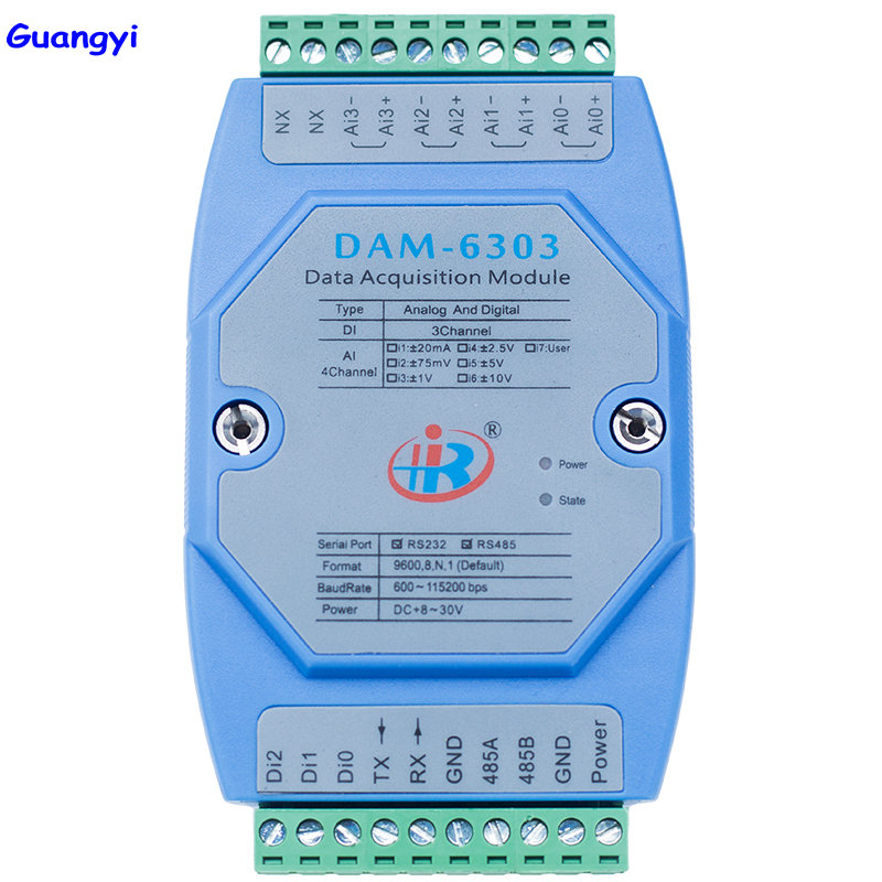 Guangyi DAM6303 mixed analog digital input data acquisition module Modbus voltage current converter