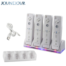 лучшая цена JUNEJOUR 2800mAh Rechargeable Battery 4 In 1 Charger Dock Charger Dock Station For Wii Remote Controller With USB Cable Charger