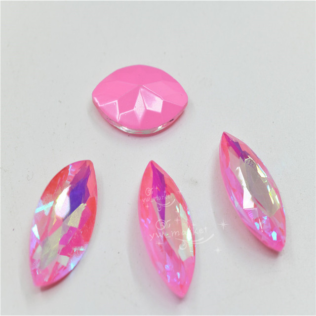 Strass fluorescents roses Rivoli cheval oeil goutte Pointback colle sur les vêtements incroyables gemmes bijoux accessoires