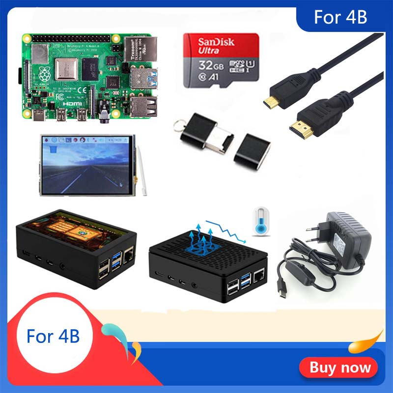Original Raspberry Pi 4 Model B 1/2/4GB RAM | Case | Heat Sink | Power Adapter | 32 GB SD Card | Micro HDMI For RPI 4B