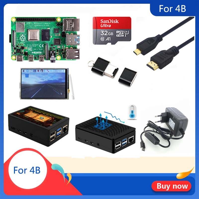 Original Raspberry Pi 4 Model B 1/2/4GB RAM   Case   Heat Sink   Power Adapter   32 GB SD Card   Micro HDMI For RPI 4B