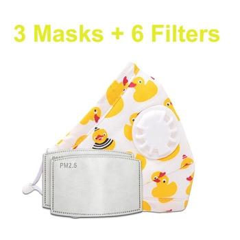 3 PCS Del Fumetto PM2.5 Bambini Maschera Maschera Con 6 Filtri Respiro Bocca Valvola Viso Maschera Per Bambini Lavabile Maschera Maschera di Polvere a prova di sterile In Magazzino 20