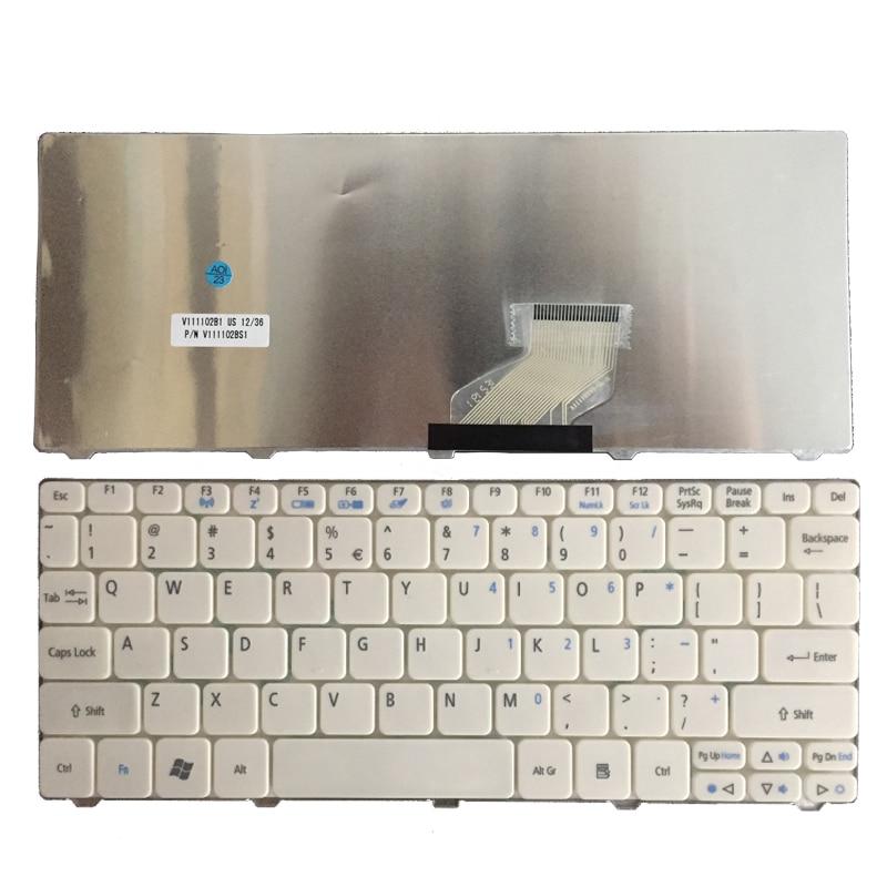 US Keyboard For Acer Aspire One 521 522 533 D255 D255E D257 D260 D270 AO521 532H AO532 NAV50 ZE6 ZH9 White Laptop Keyboard