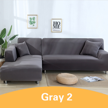 2Pcs Sofa Cover for Living Room Couch Cover Elastic L Shaped Corner Sofas Covers Stretch Chaise Longue Sectional Slipcover - Gray, 3-Seat and 4-Seat