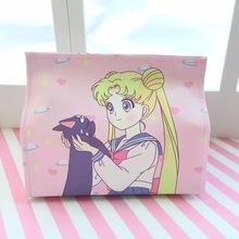 Anime Sailor Moon torba na ramię akcja drukowana postać Sailor Moon Pu skóra kreatywny papier ręczniczek różowa pantera papierowa torba tanie tanio Lasek i Laski Unisex other