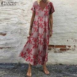 Женский сарафан ZANZEA, Пляжное Платье макси с богемным цветочным принтом, винтажные платья большого размера с V-образным вырезом и коротким ру...