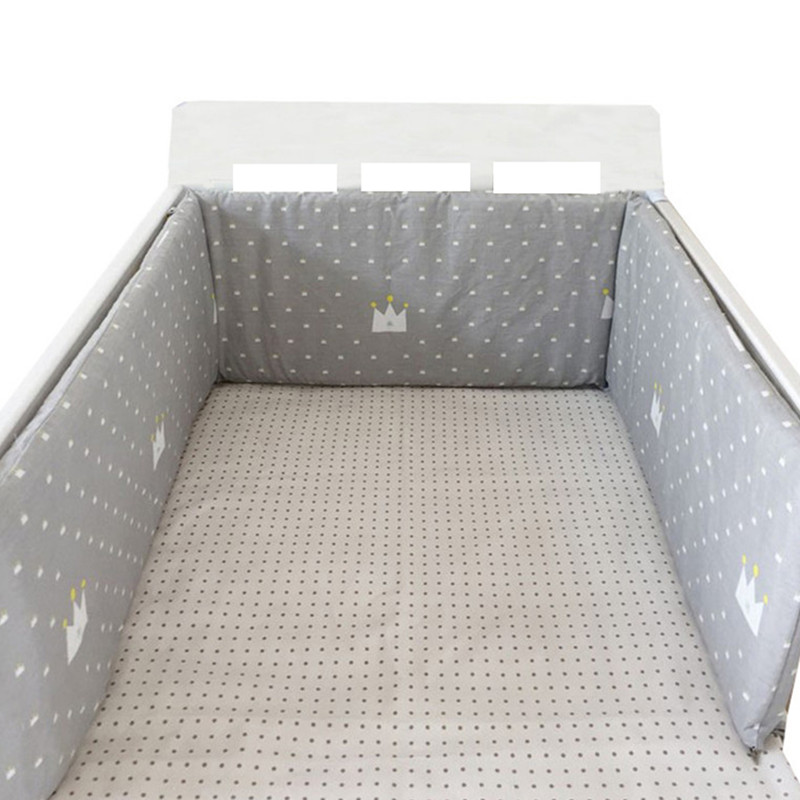 Baby Bed Bumper Breathable cot Bumpers Bed Protection Cotton Grau-Wei/ß mit Sternen, 210 x 30 cm