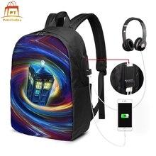 цена Tardis Backpack Tardis Backpacks Multi Pocket Schoolbag Bag Trendy Print High quality Teenage Men - Women Bags онлайн в 2017 году