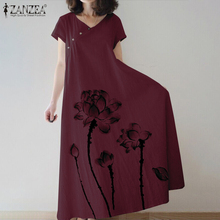 Elegant Printed Maxi Dress Women's Summer Sundress ZANZEA 2020 Casual Short Sleeve Tunic Vestidos Female Button Robe Plus Size