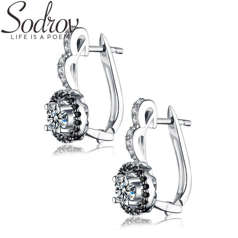 SODROV 925 Sterling Silver Jewelry Engagement Hoop Earrings For Women Black Spinel Stone Bijoux Silver 925 Jewelry T001