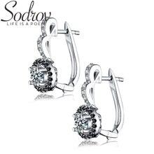 SODROV 925 пробы серебряные ювелирные изделия обручи серьги для женщин Черный шпинель камень Bijoux серебро 925 ювелирные изделия T001