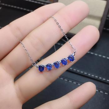 shilovem 925 silver sterling real Natural sapphire PENDANTS fine Jewelry trendy necklace plant new gift 3*4mm  jcz0304943agl