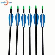 Plumes en fibre de verre, le lot de 6, 32 pouces (82cm), flèches bleues et blanches, pour Recurve, pour la chasse, le tir, les jeux de pratique