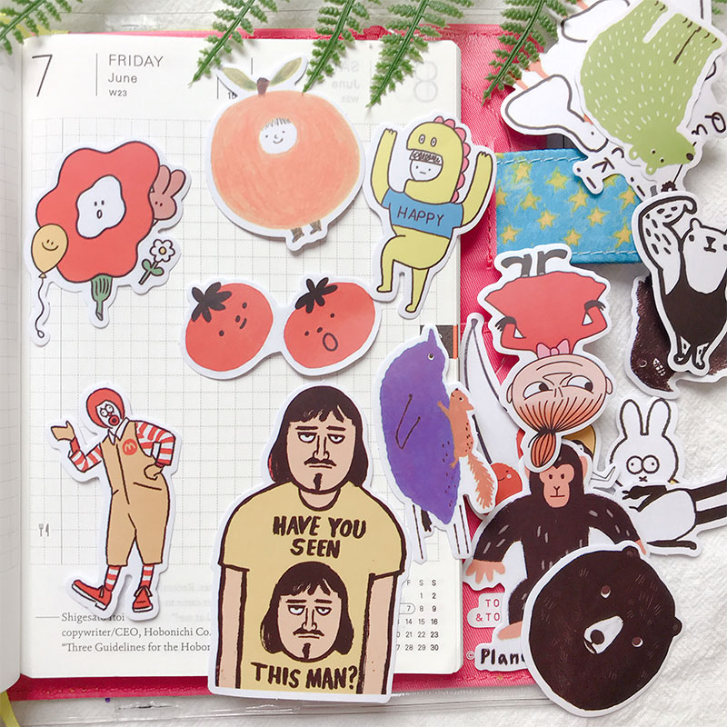 19PCS Cute Illustration Stickers Crafts And Scrapbooking Stickers Book Student Label Decorative Sticker DIY Stationery