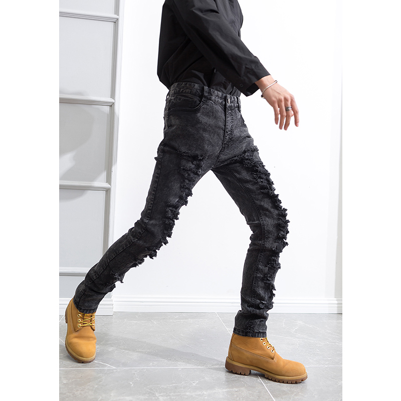 Winter Men's Hole Jeans Dark Gray Thick Long Pants Wild Teen Thickening Performance Feet Pants Pencil Pants