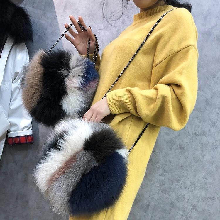 Luxury Designer Women Clutch Bags And Purse Real Fur Women Handbags Causal Round Messenger Shoulder Evening Bag Female Gift