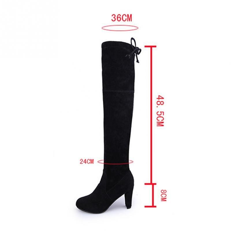 Зимние Сапоги выше колена женская обувь осенние высокие сапоги из флока с острым носком пикантная женская обувь для вечеринок на высоком то...
