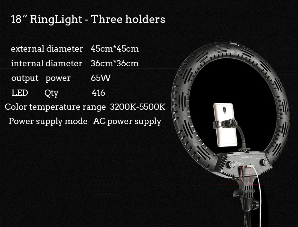 Hfbc893c2521c4f7bbfc9ff0e84ba126cJ WalkingWay 18 inch LED Ring Light with Tripod Dimmable Photographic Lighting Studio Video light for tik tok Makeup Youtube Live
