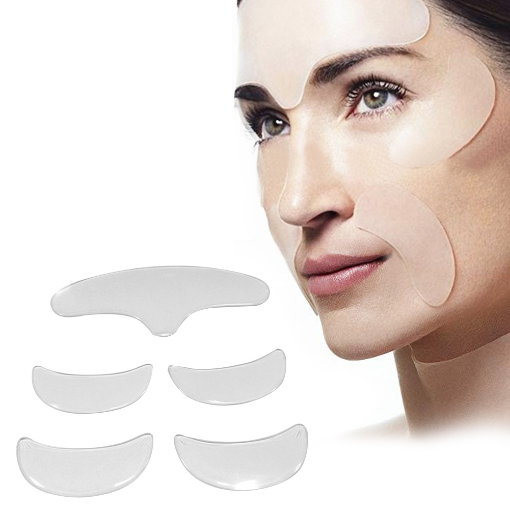 5 PCS Silicone Anti-Wrinkle Face Forehead Stickers Patch Set Lifting Kit