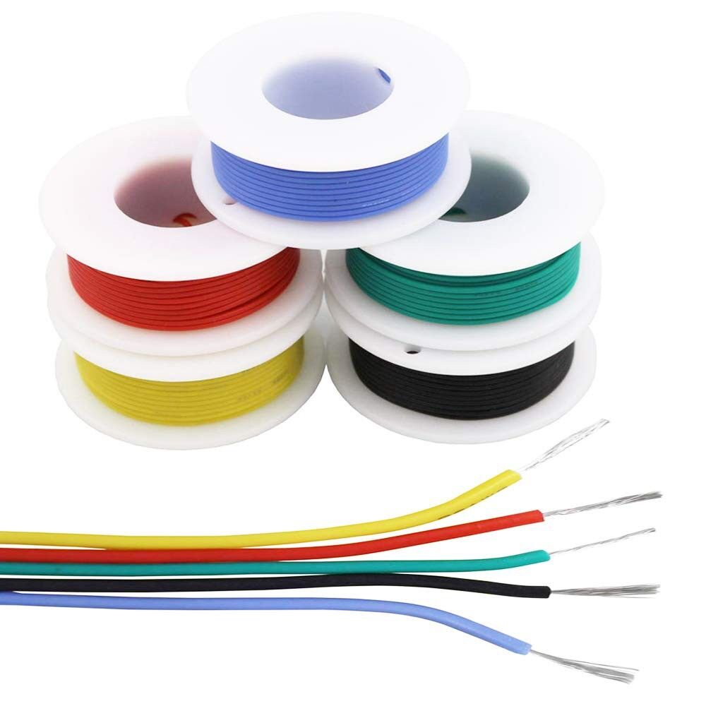 26awg 0.13mm2 Silicone Electrical wire Cable 5 Colors (10Meter each) electronics kit stranded Tinned Copper Flexible and for DIY