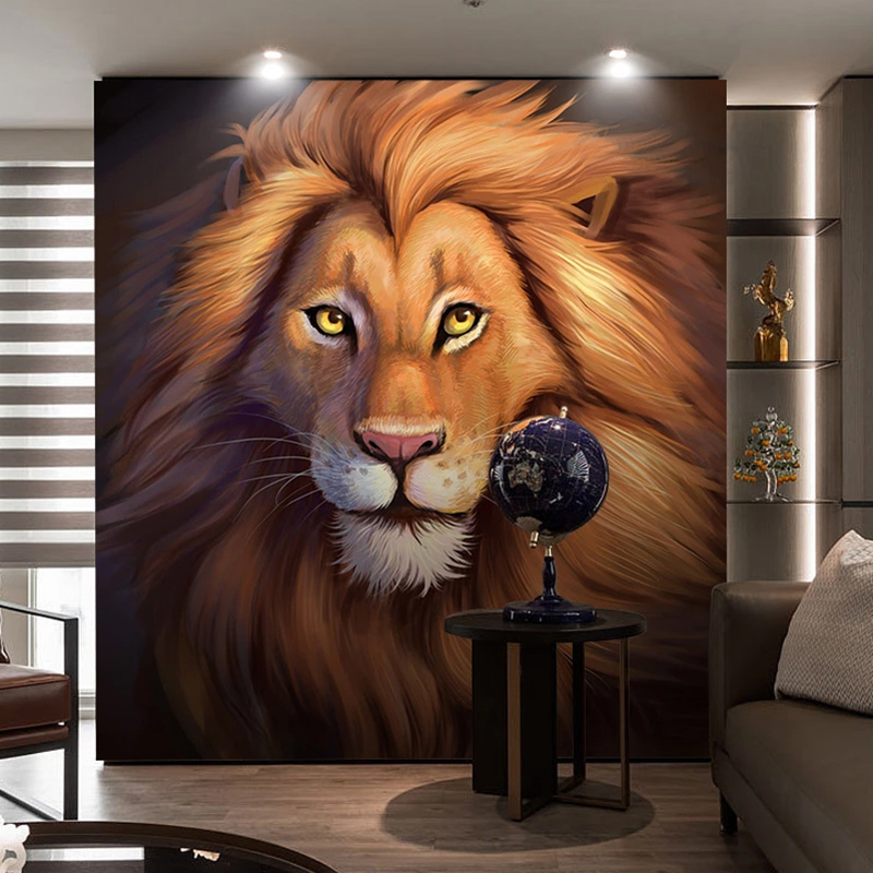 Custom Photo Mural European Style Modern Art Hand Painted Oil Painting Golden Lion Background Wall Painting Bedroom Living Room