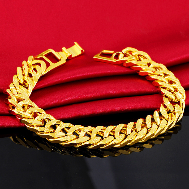 12MM 24K Pure Gold Color Bracelets for Men Women Chain Bracelet Bangles Wristband Pulseira Homme African Gold Jewelry Man Bijoux