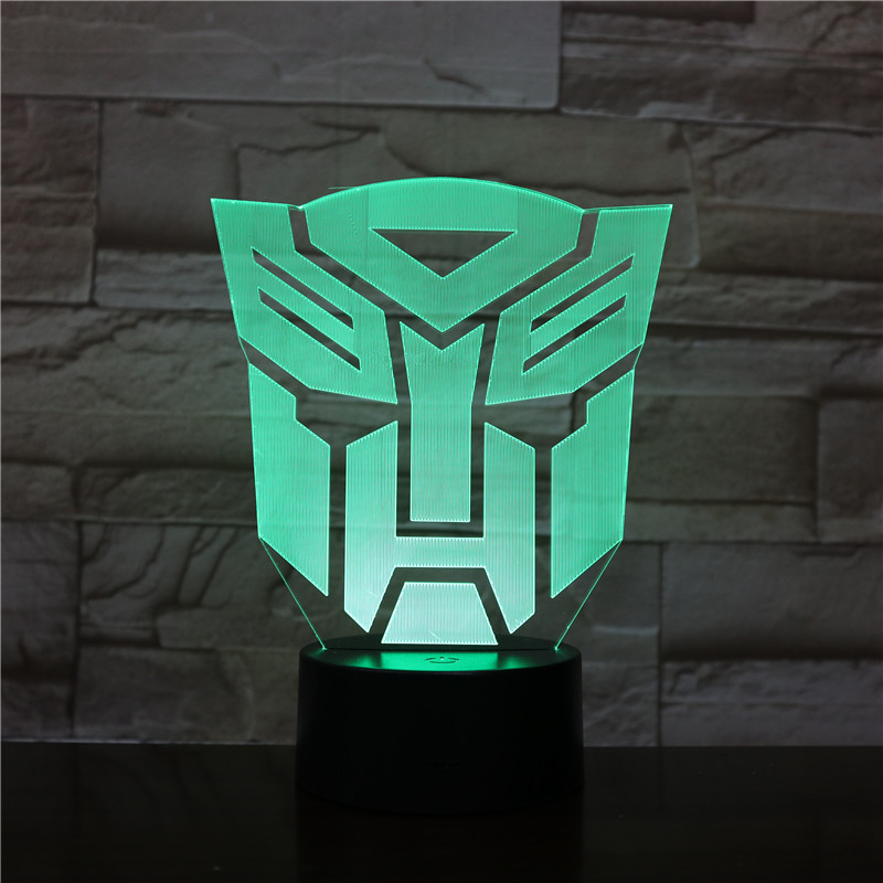 Transformers Model 3D LED Night Light Changing Lamp Halloween Light Acrylic  Illusion Desk Lamp For Kids Gift Dropship