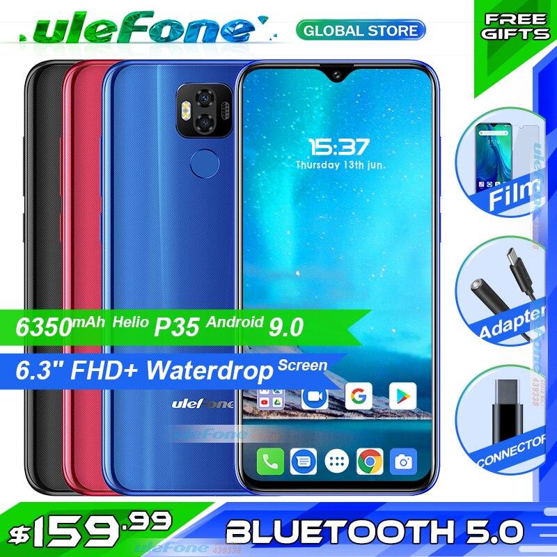 Ulefone Power 6 6350mAh Android 9.0 Helio P35 Octa Core téléphone portable 4GB RAM 64GB ROM 6.3 ''Face ID NFC 4G Support bande américaine