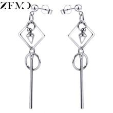 ZEMO Mens HipHop Earrings 316L Stainless Steel Drop Earring Cube Ear Stud Piercing Jewelry Rock Roll Accessory boucle Femme