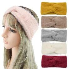 1шт головные уборы шерсть бархат мягкий с бантом ободки для женщин Девушки hairbands ленты для волос аксессуары