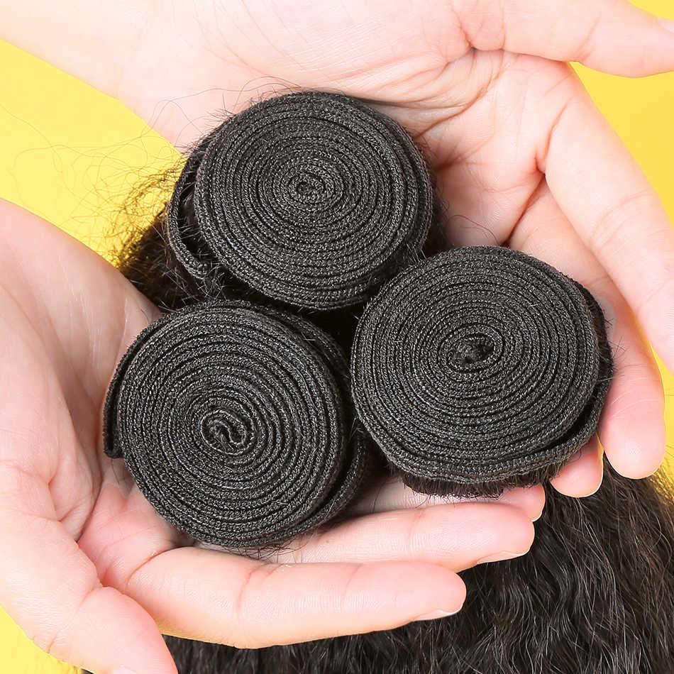 Maleisische Haar Weave Bundels Kinky Straight 28 30 Inch 3 4 Bundels Yaki Menselijk Haar Natuurlijke Kleur Remy Hair Extensions