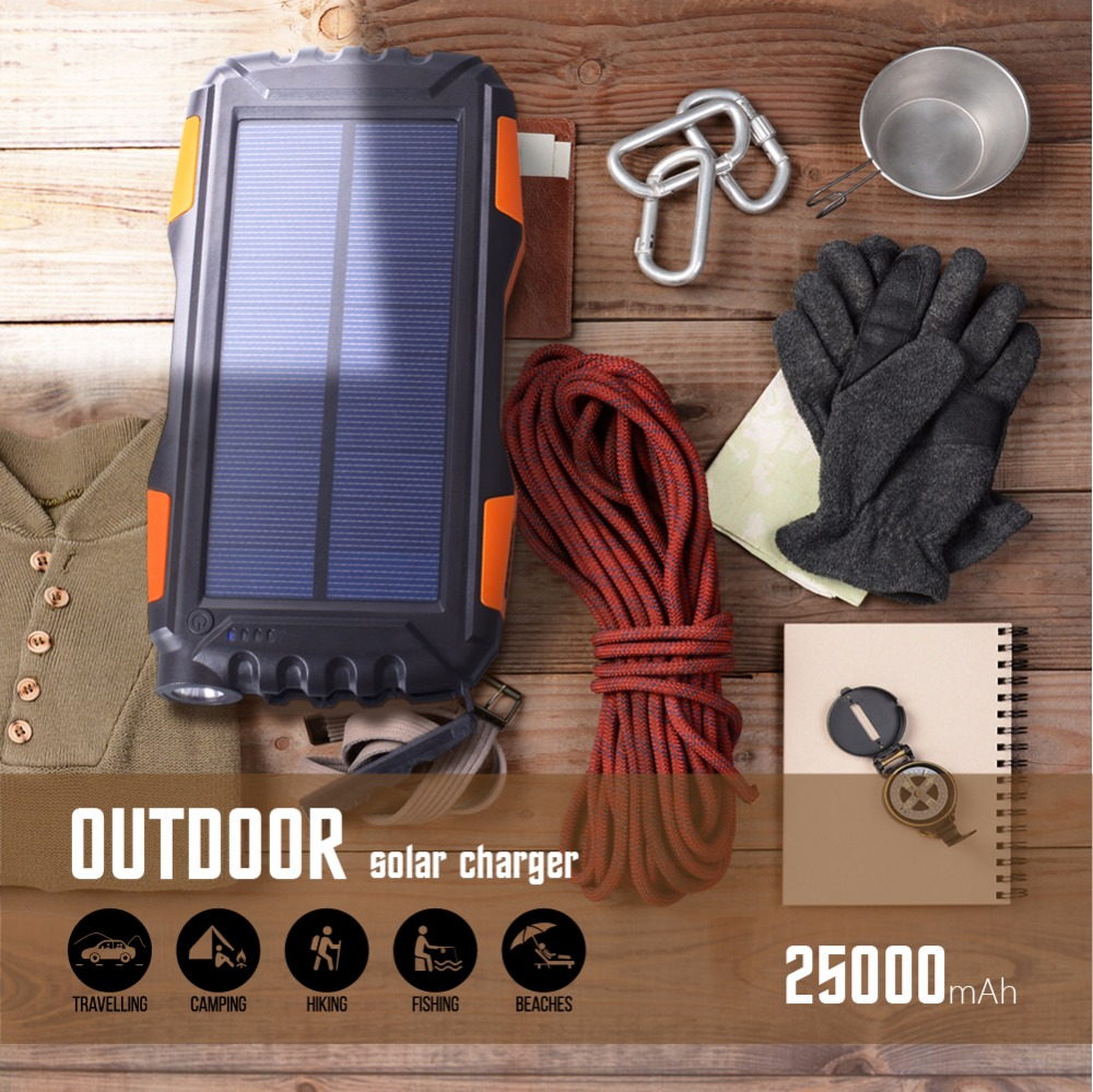 Solar Power Bank Waterproof 30000mAh Charger 2 USB External Charger Powerbank for Xaiaomi Iphone Huawei All Phone LED Poverbank