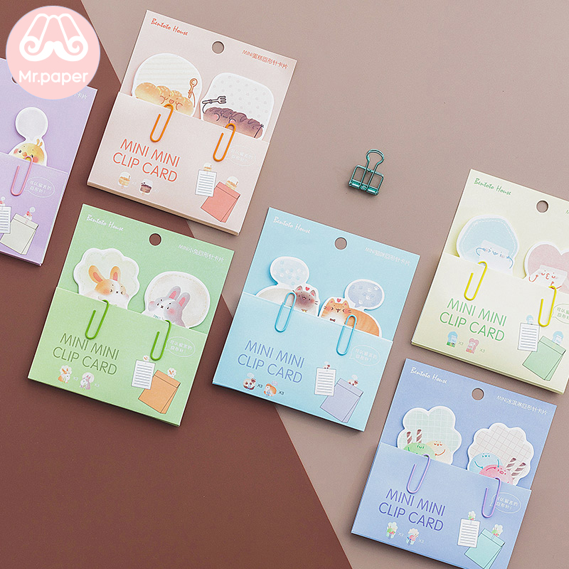 Mr Paper 6 Designs 3 Pcs Cat Bread Milk Bird Rabbit Memo Pad Clip Note Paper Tabs Paperlaria To Do List Planner Stationery