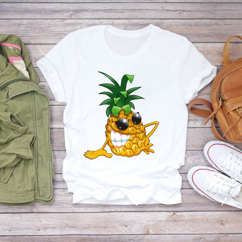 Women 2020 Cartoon Funny Cute Print Summer Pineapple Fruit Camisa Shirt Ladies Womens T-shirts Top T Graphic Female Tee T-Shirt