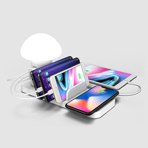 Image 5 - Mushroom LED Light Multi Port 40W USB Charging Station Dock QC 3.0 Quick Charge USB Wireless Charger for iPhone for Samsung