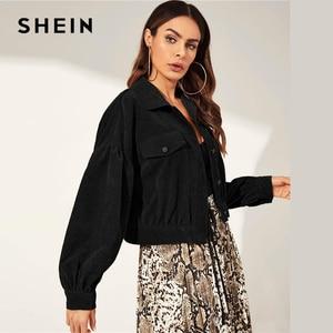 Image 3 - SHEIN Solid Drop Shoulder Single Breasted Corduroy Jacket Coat Women 2019 Autumn Streetwear Bishop Sleeve Ladies Casual Outwear