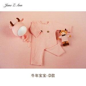 Детский костюм бычьего года, шапка + комбинезон + кукла, многоцветные милые костюмы для новорожденных/для студийной съемки на 100 дней