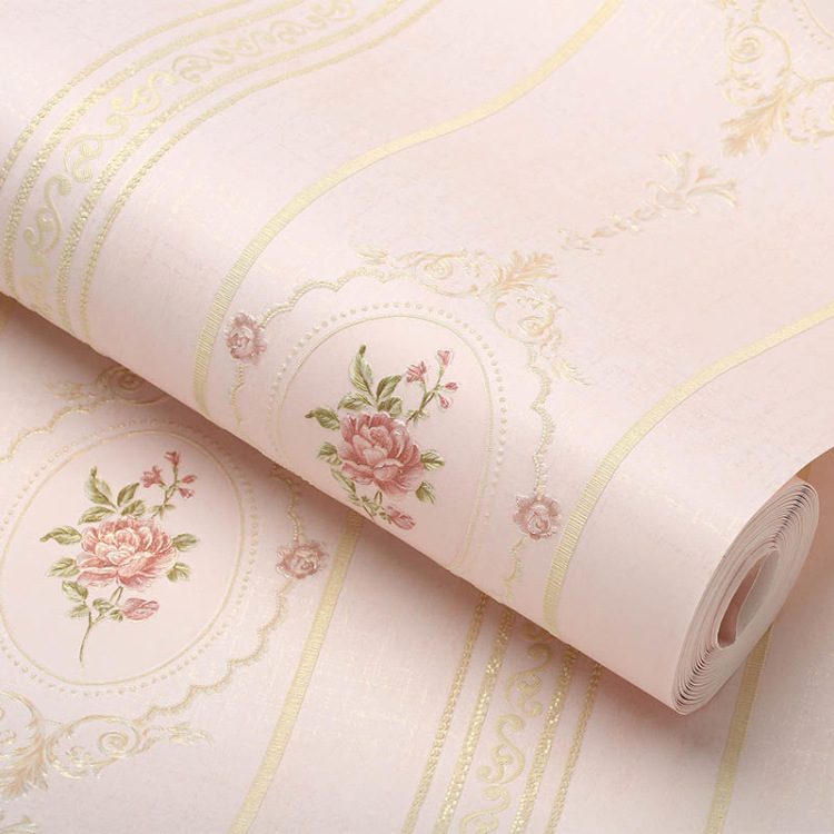 Net Sales Thick Coining European Style Stripes Big Flower Non-woven Wallpaper Bedroom Marriage House Warm Home Improvement Wallp