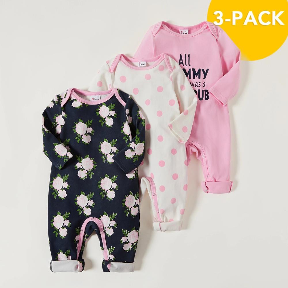 PatPat 2021 Новое поступление осень-зима 3 штуки в упаковке Детские Жираф комбинезоны, комплекты для маленьких мальчиков и одежда для девочек из одного предмета 3