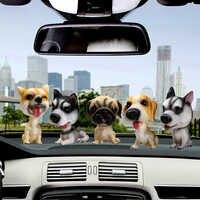 Автомобильные украшения, милая декоративная собачка из смолы, украшение для интерьера автомобиля, поплавок для головы собаки, игрушки, аксе...
