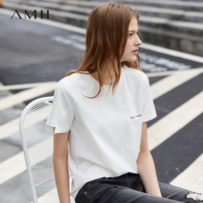 Amii Minimalist O Neck Short Sleeve Women Letter TShirts Spring Summer Causal Solid O Neck Cotton Pocket  Female Top  11930098