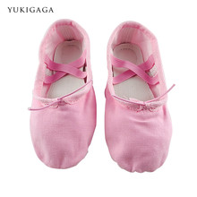 tiejian Yoga Slippers Gym Teacher Yoga Ballet Dance Shoes For Girls Women Ballet Shoes Canvas Kids Children pink red black nude(China)