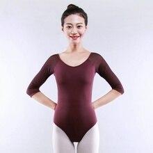 Girl Women Leotard Dance Gymnastic Ballet Bodysuit Dancewear Long Sleeve Top Lycra 916-126