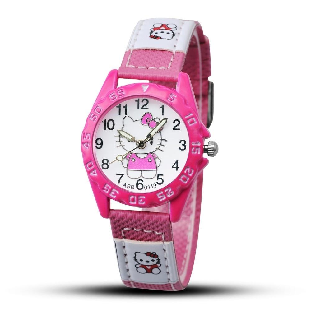 привет кииты высокое качество горячая распродажа малыш милый мультфильм бренд кожа ремешок часы дети девочки часы женщины дети мальчик ребенок саат