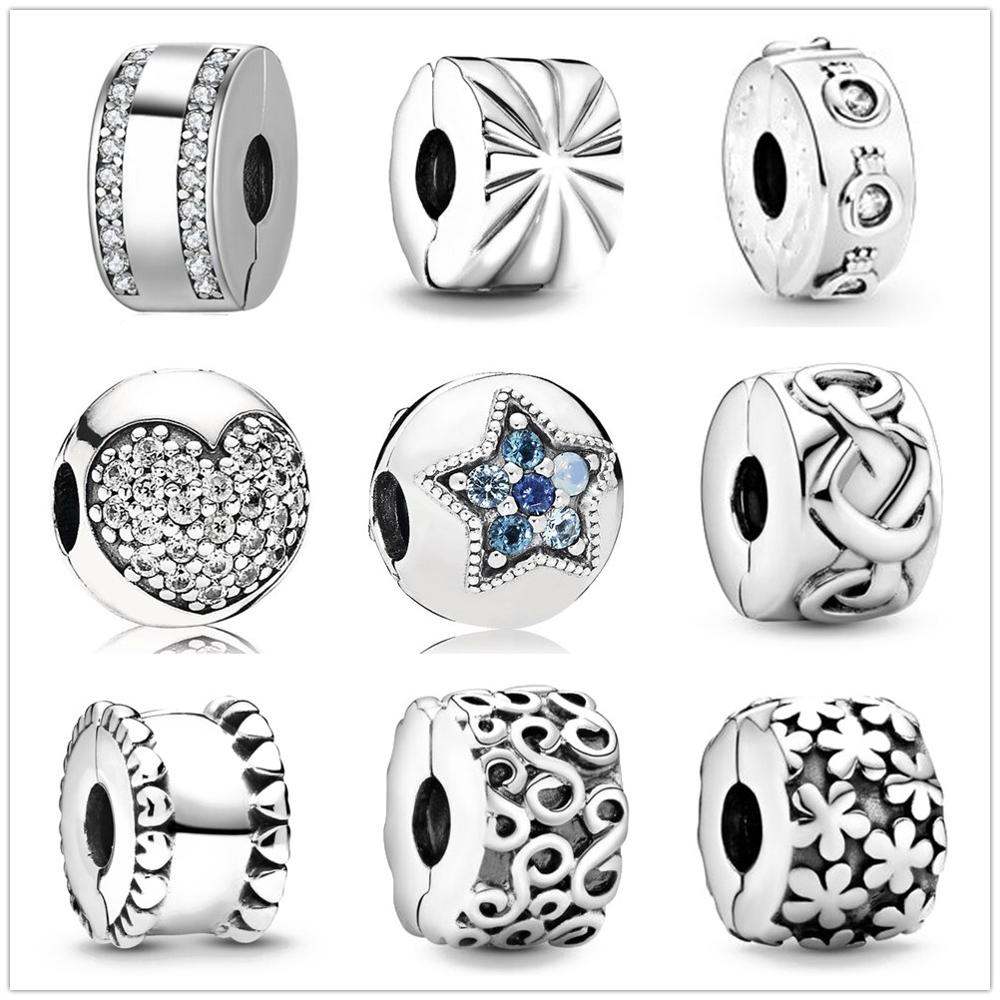 New Silver Sparkling Crown O Clip Charm Bead fit Original Pandora charms silver 925 Bracelet trinket jewelry for women DIY makin(China)