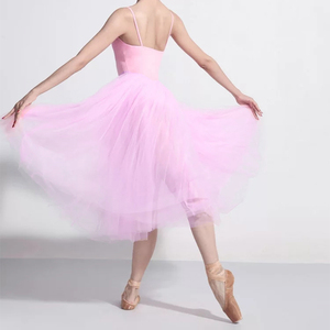 Image 5 - プロ大人バレリーナバレエチュチュ白黒ピンク赤メッシュレースロングチュチュドレス弾性ウエストチュールスカート女性ボールスカート