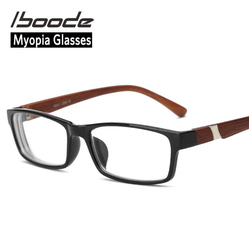 Iboode ahşap tahıl miyopi gözlük erkekler ve kadınlar için miyop gözlük PC Lens bitmiş yakın görüş gözlük diyoptri-1.00 to-4.50