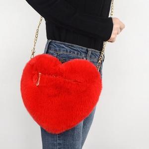 2020 Fashion Women's Heart Shaped Handbags Cute Kawaii Faux Fur Crossbody Bags Wallet Purse Chain Shoulder Bag Lady Handbag Girl