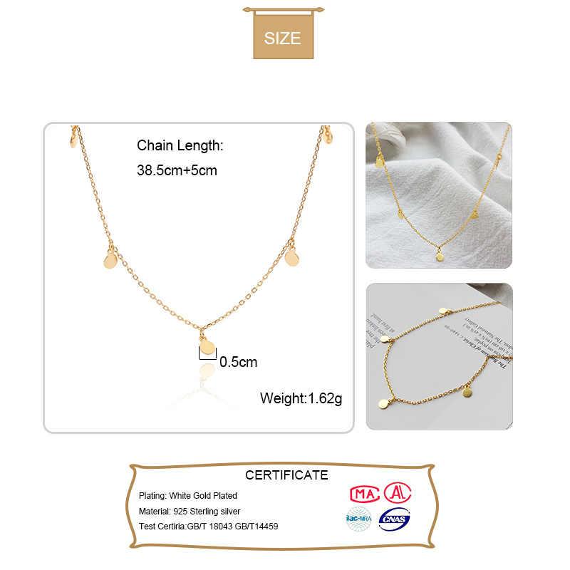 Elfoplatasi 925 Sterling Silver Minimalis Geometris Terang Disc Kalung Kalung untuk Fashion Wanita 925 Perhiasan Bohemia Hadiah D332