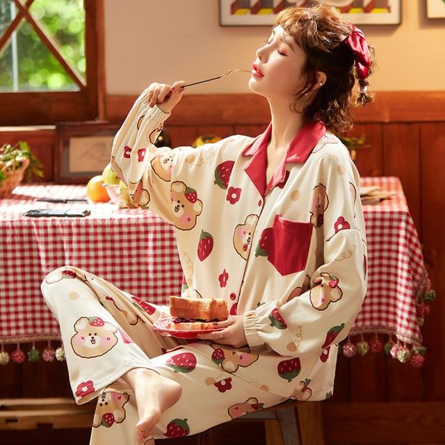 Pyjama Women Clothes Pajamas Sets Cute Print Long sleeved Sleepwear Suits Lady Fashion Casual Sleepwear Soft Nightwear Suit